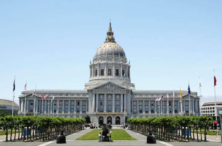 San Francisco City Hall from east end of Civic Center Plaza ...